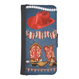 Hatt för kängor för amerikanCowgirl rött vitt Plånboksfodral För iPhone SE/5/5s