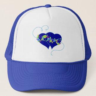 Hatt för kärlekblomma- och hjärtavalentin truckerkeps