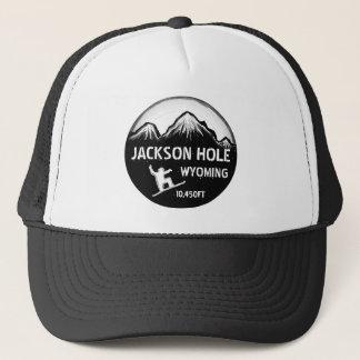 Hatt för konst för Jackson Hole Wyoming svart vits Keps