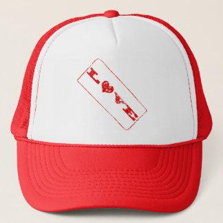 Hatt för Rubber frimärke för Grungekärlek Truckerkeps