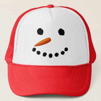 Hatt för snögubbeansiktejul truckerkeps
