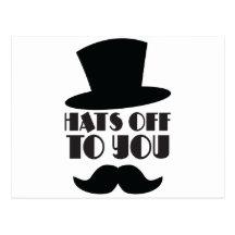 HATTAR av till dig! med top hat och moustachen Vykort