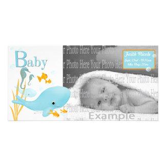Hav beskådar babyfotoet Annoucement Fotokort