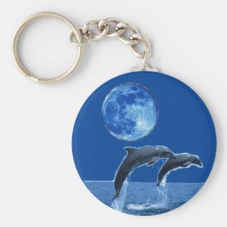 Hav beskådar Keychain med delfiner Rund Nyckelring