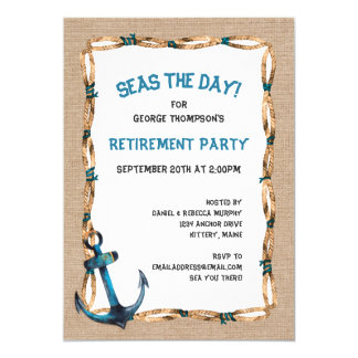 Hav den nautiska pensionen för dag 12,7 x 17,8 cm inbjudningskort