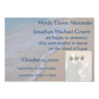 Hav för bröllopfotomeddelande på strand 12,7 x 17,8 cm inbjudningskort