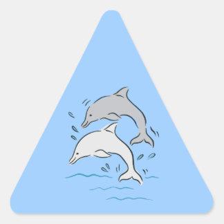 Hav för däggdjur för delfindelfiner marin- triangelformat klistermärke