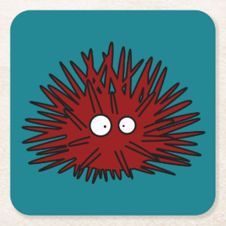 Hav för igelkott för havsgatubarn Uni Spiny rött Underlägg Papper Kvadrat