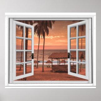Hav för solnedgångkustenstranden fejkar fönstret poster