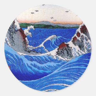 Hav Hiroshige 歌川広重 Runt Klistermärke