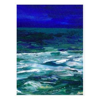 Hav i gåvorna för sjölandskap för månskenhavkonst vykort