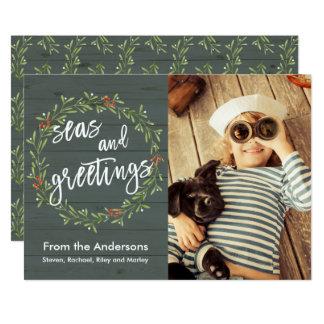 Hav och nautiskt julfoto för hälsningar 12,7 x 17,8 cm inbjudningskort