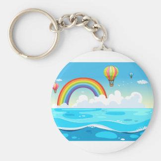 Hav och regnbåge rund nyckelring