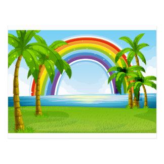 Hav och regnbåge vykort