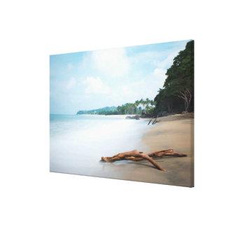 Hav vinkar på sandig strand canvastryck