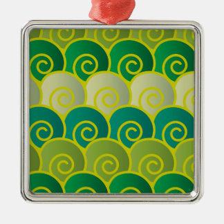 Hav virvlar runt grönt kvadrerar prydnaden julgransprydnad metall
