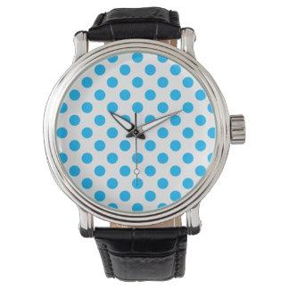 Havblått- och vitpolkaen pricker klockan armbandsur