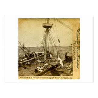 Haveri av U.S.S.EN Maine, kommande övre för dykare Vykort