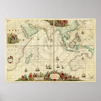 Havet 1690 kartlägger från Holländare Öster Indien Poster