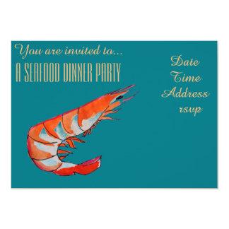 Havs- party för middag för räkaräkaBBQ 12,7 X 17,8 Cm Inbjudningskort