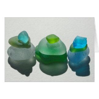 Havsexponeringsglas, strandexponeringsglas, blått, hälsningskort