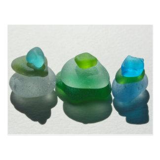 Havsexponeringsglas, strandexponeringsglas, blått, vykort