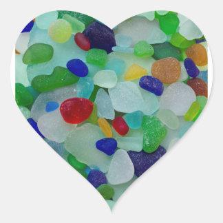 Havsexponeringsglas, strandexponeringsglas, hjärtformat klistermärke