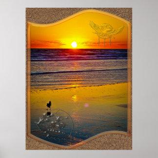 Havsoluppgång reflekterad på konst för strandindie poster