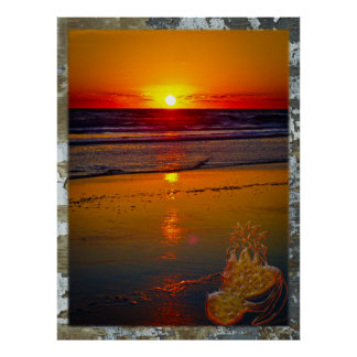 Havsoluppgång reflekterad på tropisk frukt för str poster