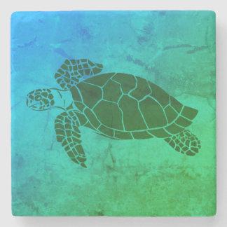 Havssköldpadda 2 på blått- och gröntbakgrund stenunderlägg