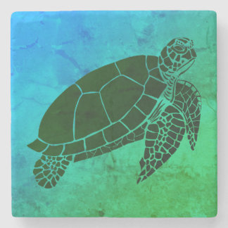 Havssköldpadda på blått- och gröntbakgrund underlägg sten