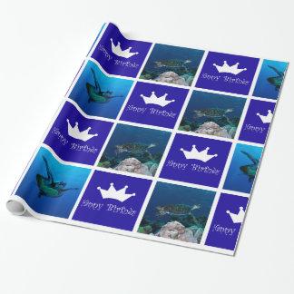 Havssköldpaddafödelsedag som slår in papper presentpapper
