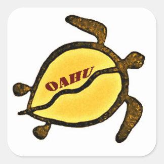 Havssköldpaddaö av Oahu Fyrkantigt Klistermärke