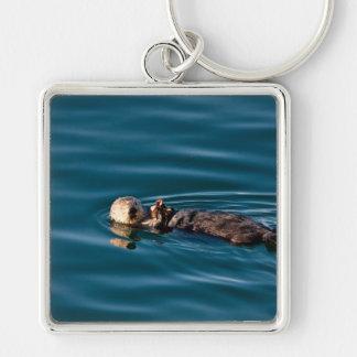 Havsutter Fyrkantig Silverfärgad Nyckelring