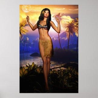 Hawaiansk dansaresoluppgång poster