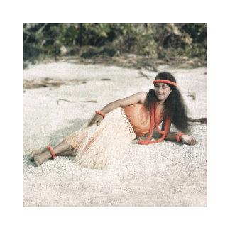 Hawaiansk Hula flicka Circa 1909 Canvastryck