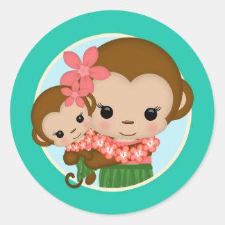 Hawaiansk klistermärke #4D för Hula apababy shower