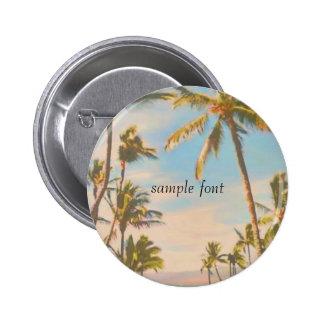 Hawaiansk strand för PixDezines vintage Standard Knapp Rund 5.7 Cm