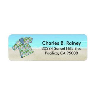 Hawaiansk tropisk strandskjortareturadress returadress etikett
