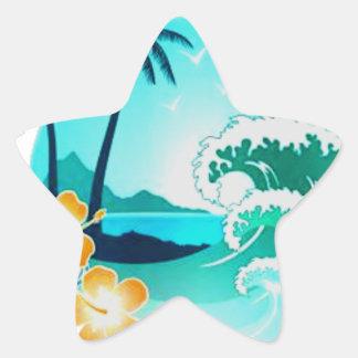 HAWAIANSK TROPISK SURFAKONST STJÄRNFORMAT KLISTERMÄRKE