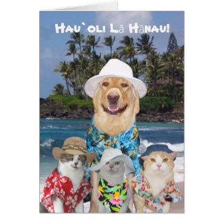 Hawaianskt gul lab & kattungar Birthda för Hälsningskort