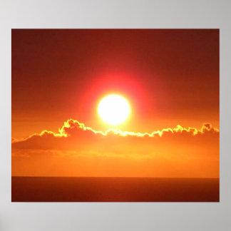Hawaianskt tryck för solnedgånghimmelaffisch poster