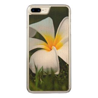 Hawaii för vitPlumeriaFrangipani blomma Carved iPhone 7 Plus Skal