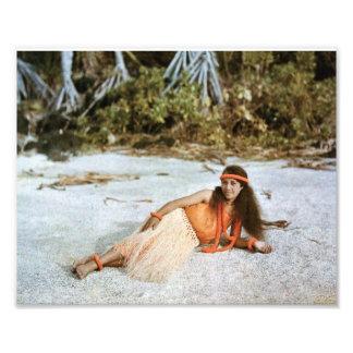 Hawaii foto: Naturlig färg 1910 för vintageHula Fototryck