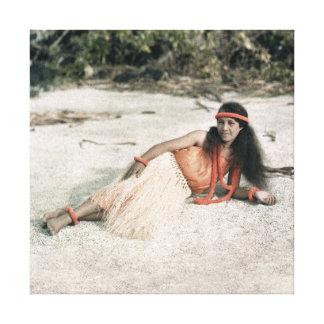 Hawaii KANFAS: Foto 1910 för vintageHula flicka Canvastryck