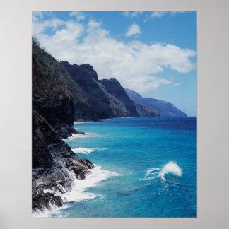 Hawaii Kauai, vinkar från Stilla havet Poster