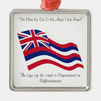 Hawaii motto silverfärgad fyrkantigt julgransprydnad