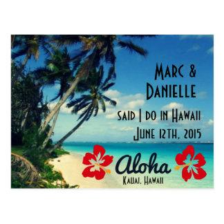 Hawaii som gifta sig meddelandevykort vykort