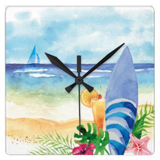 Hawaii surfasemester - vattenfärgkonst fyrkantig klocka
