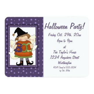 Häxa 2 för bu för barnhalloween festinbjudan lite 12,7 x 17,8 cm inbjudningskort